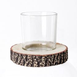 Svícen sklo/dřevo 9cm natural