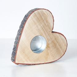 Svícen srdce dřevo 10cm