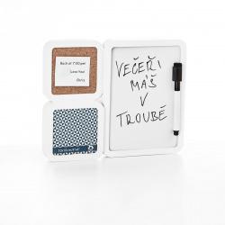 Fotorámeček plastový bílý 10x10cm a 13x18cm tabule na vzkazy stolní