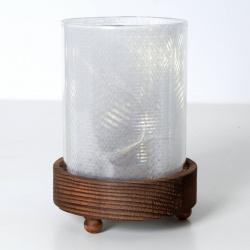Svícen sklo/dřevo/LED světla pr.10,5V15cm