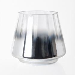 Svícen sklo chrom 15x13,5cm