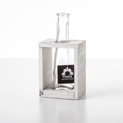 Váza skleněná 1ks v dřevěném podstavci bílý v.11cm š.8,5cm