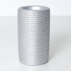 Svícen válec keramika stříbrná 12,5cm