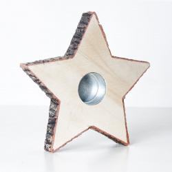 Svícen hvězda dřevo 15cm