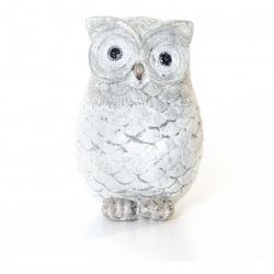 Dekorace Bird Huhu bílá 14,5 cm