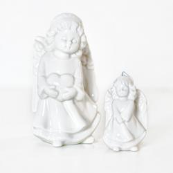 Dekorace Angel Martha bílá 13 cm